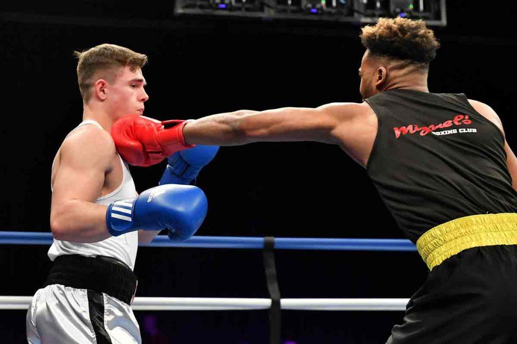 Kheron in action against Redcar's Ben Jarvis at the England Boxing Amateur National Championships