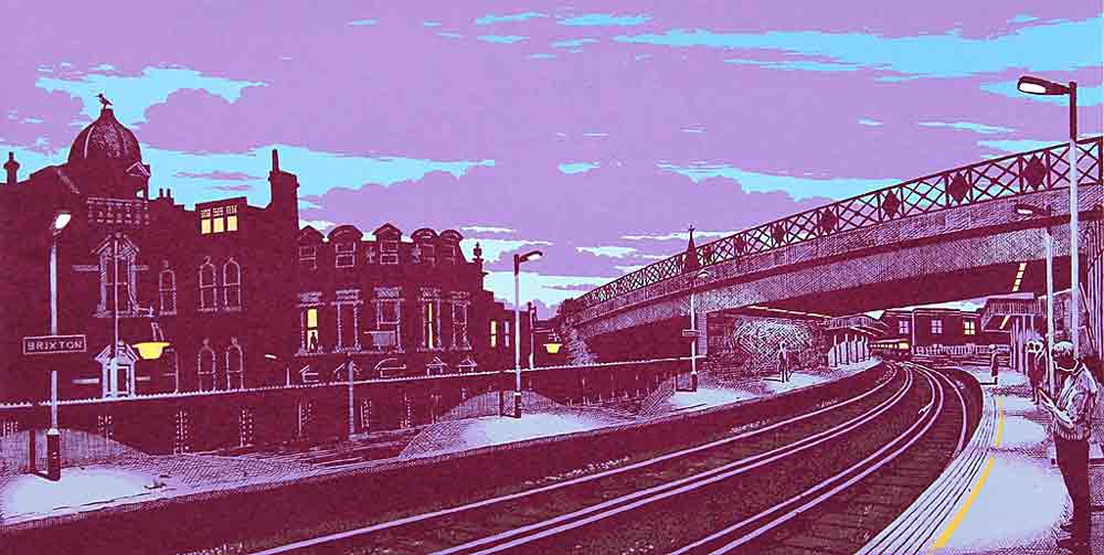 painting of Bradys seen from Brixton station
