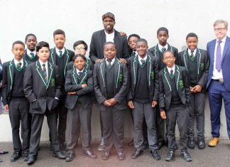 Luol Deng with Year 7 students from Ark Evelyn Grace Academy