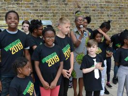 Sonia Winifred, Lambeth council cabinet member for equalities and culture, with the young performers