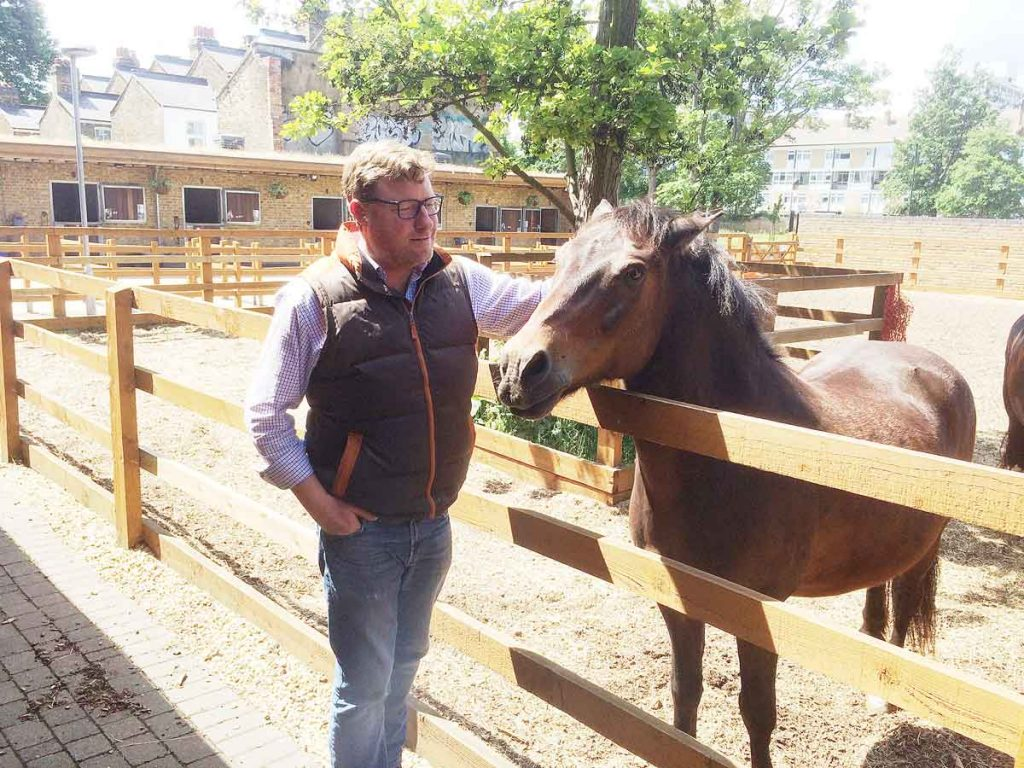 Ebony Horse Club engagement manager David Fleming with Chips