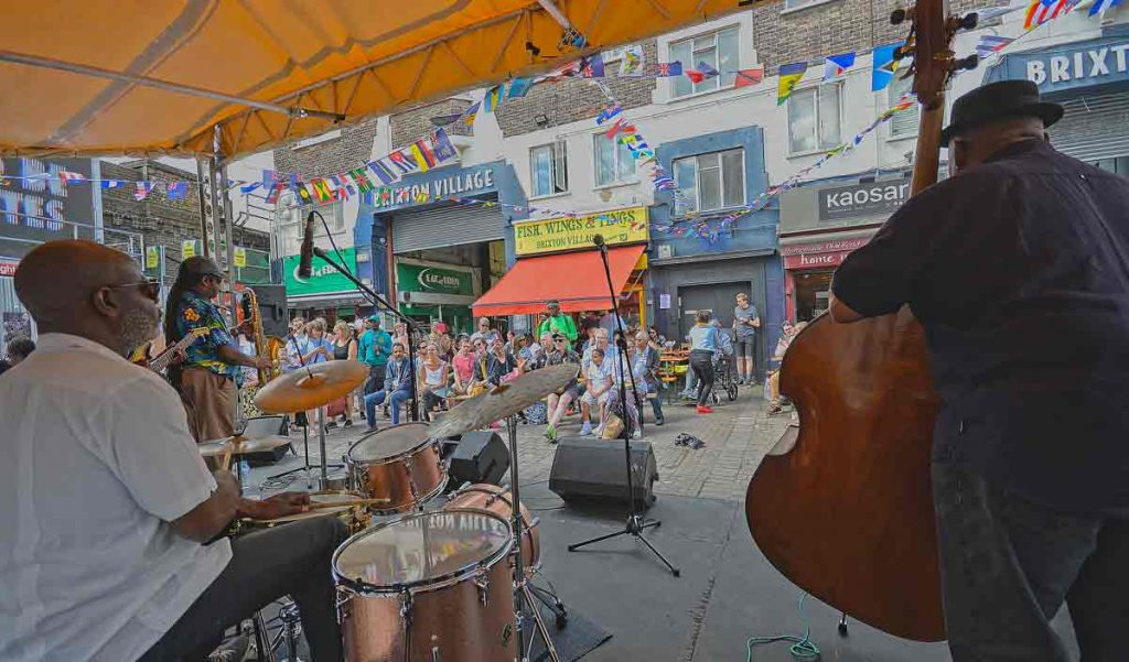 Grass Roots play outside Brixton Village
