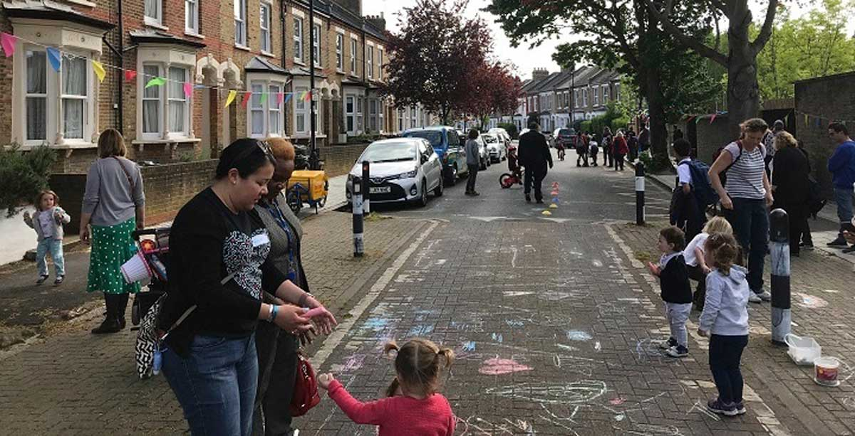 Street participating in Car Free Day
