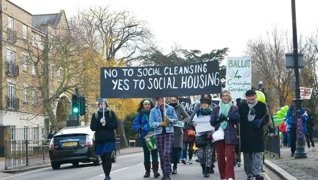 Cressingham Gardens protest march 2017