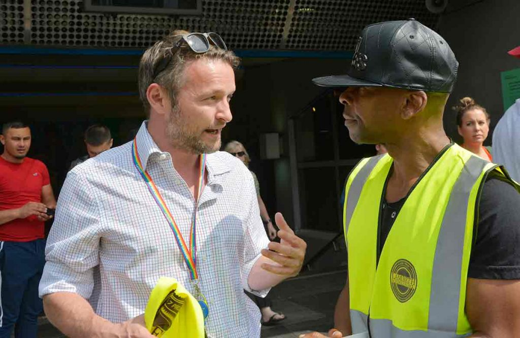 Asher Senator of Code 7 talks to Lambeth council leader Jack Hopkins