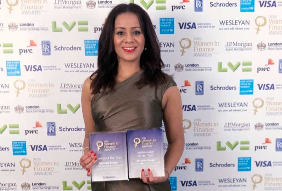 Dr Miranda Brawn with Woman of the Year and Ambassador of the Year awards
