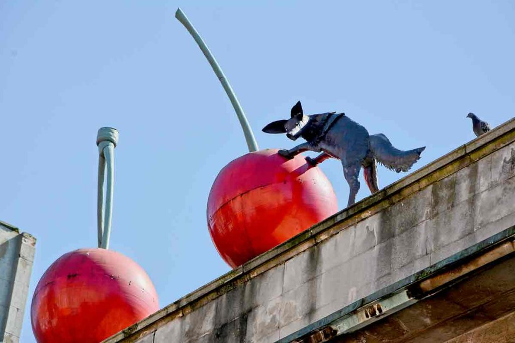 Foxes and cherries sculpture Brixton