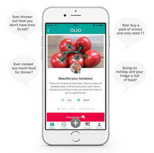 screenshot of the food waste Olio app