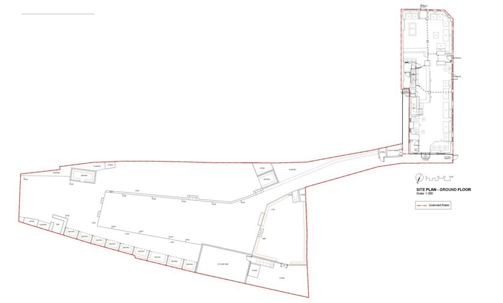 Plan shows the pub's enormous garden