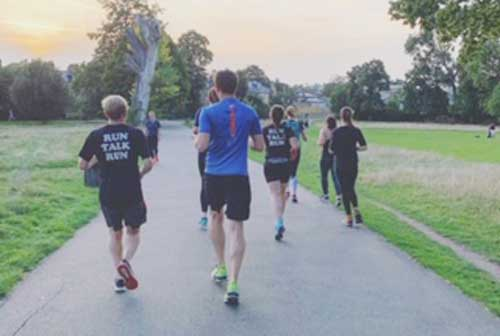 Charity runners in Brockwell Park