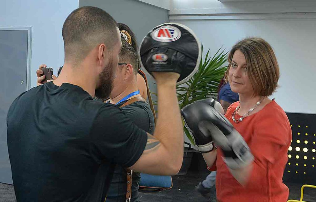 MP Helen Hayes tries boxing training