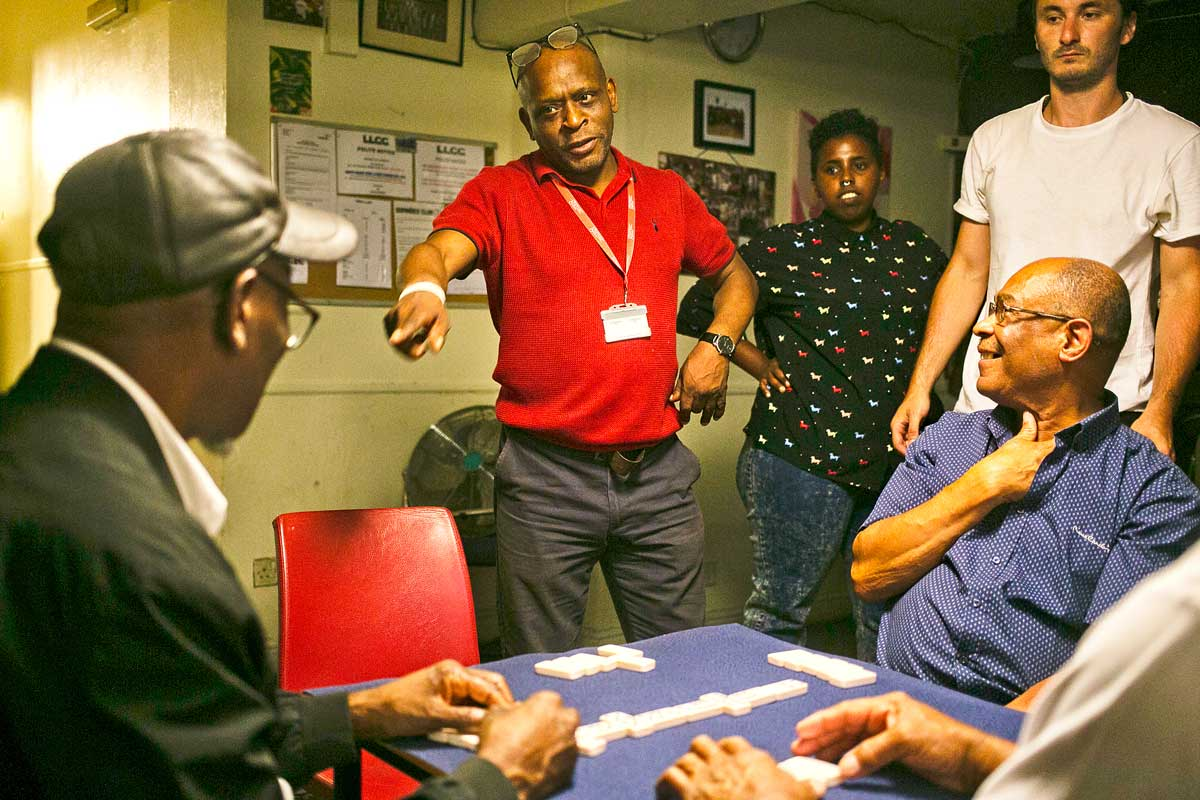 Brixton Immortals dominoes club players in the Sports and Social Club on Coldharbour Lane