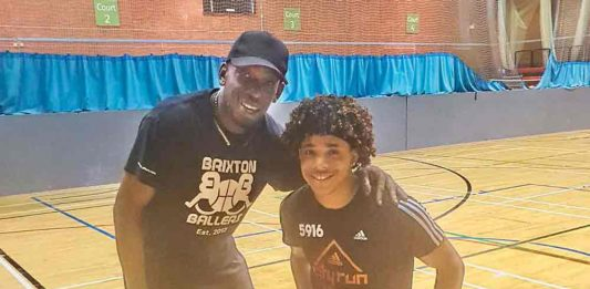David Batista with coach Austin Kentebe
