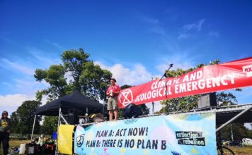 Mark Rylance at a recent Extinction Rebellion event in South London