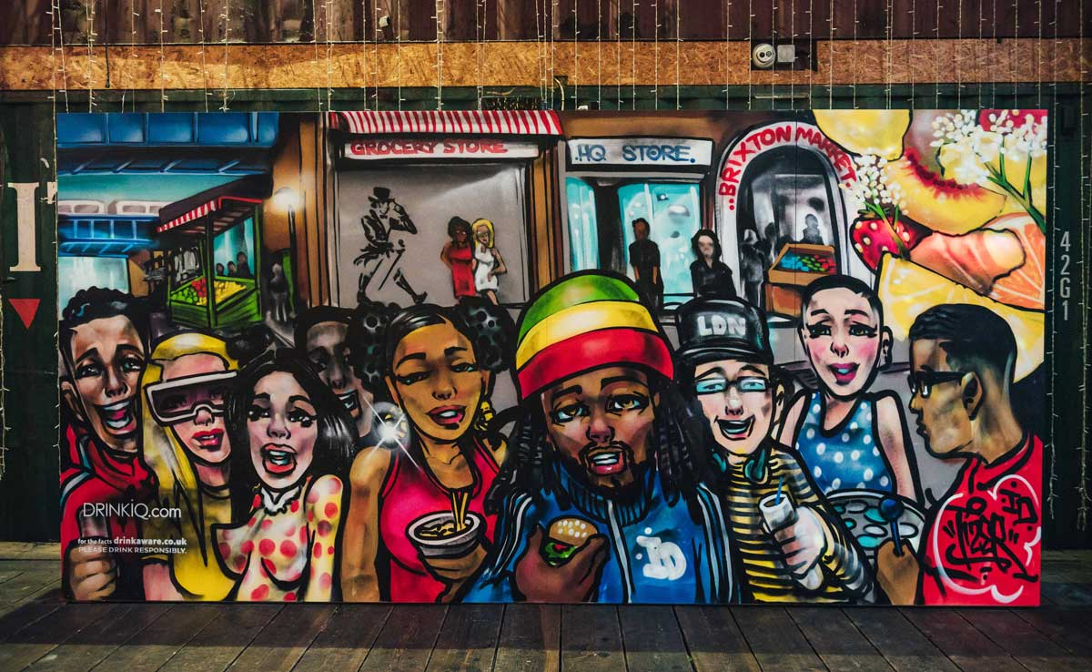 Latest mural by local graffiti artist Tizer done at Pop Brixon