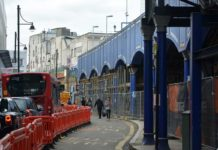 scaffolding under platform one of Brixton station on Atlantic Road