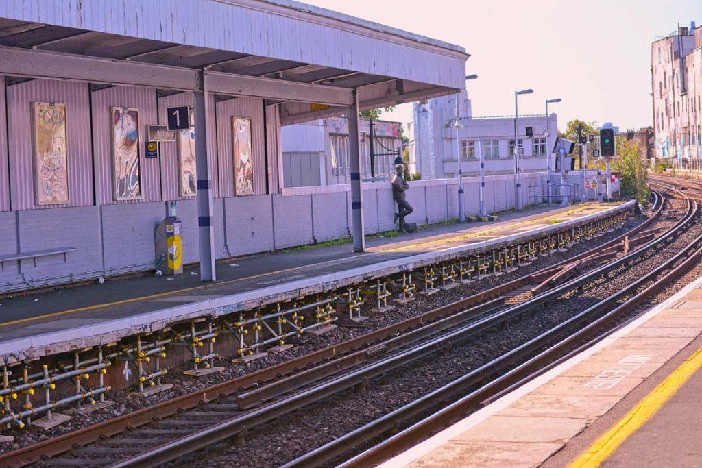 scaffolding under the platform at brixton station
