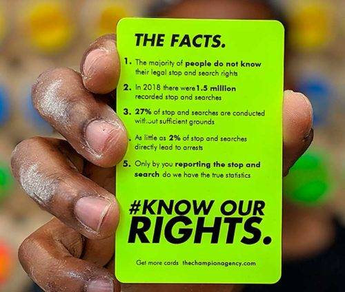 Know Our Rights fact card