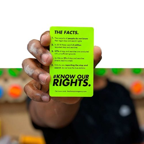 Stop and search rights card