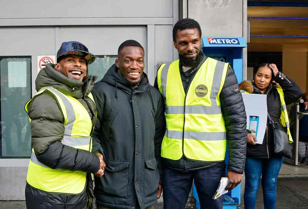 Brixton-based MMA fighter Michael Ekundayo (centre) joined Code 7's Asher Senator (left) and one of its trustees, Joel Demming, to back the launch