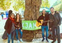 Mamma Green band promoting Brixton Oxjam