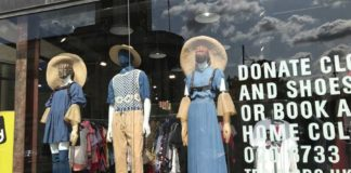 Window display of Traid charity shop in Brixton