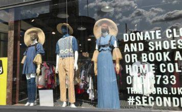 Window display of Traid charity shop in Brixton