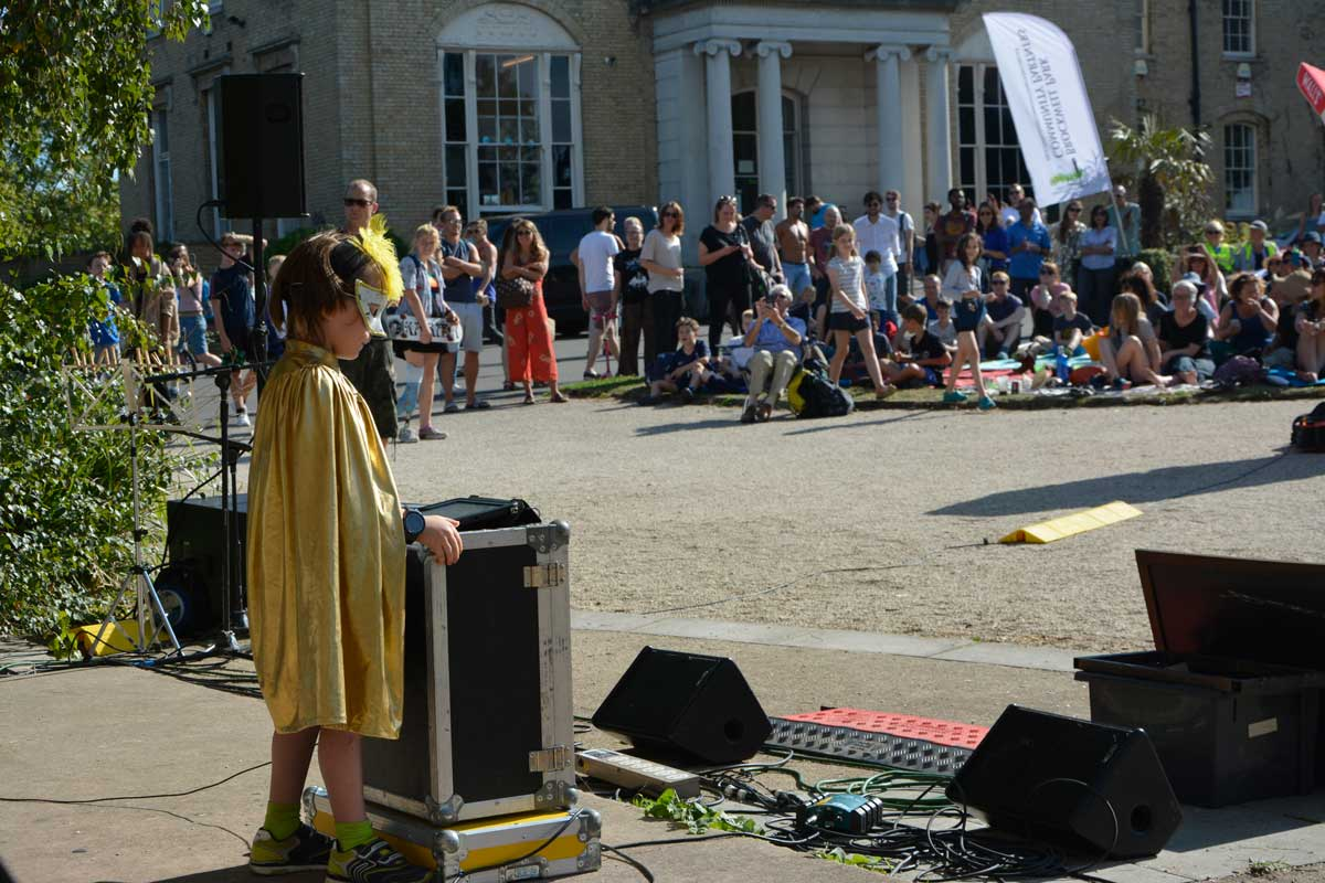 Young performer at junior open mic at Brockwell Park
