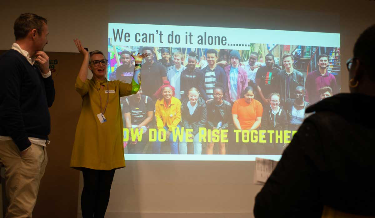 We Rise founder Abigail Melville with Council Leader Jack Hopkins at the Crowdfunding launch
