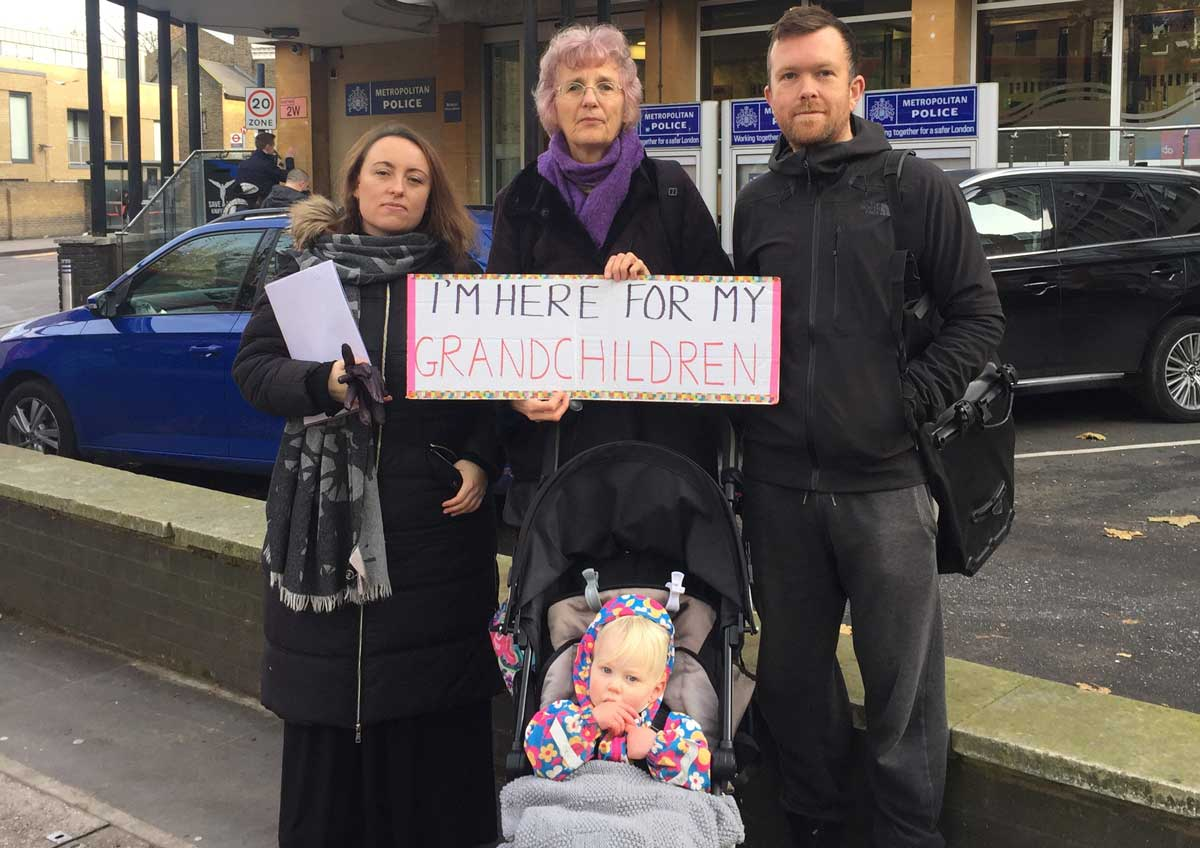 Climate genocide protesters outside Brixton police station