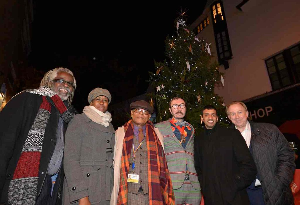 At the switch-on (l-r) Brixton BID director Michael Smith, BID chair Laverne Walker of Sackville Travel, local councillor Donatus Anyanwu, deputy mayor Philip Normal, local councillor Irfan Mohammed and Morleys chief executive Nigel Blow