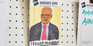 Poster asking for nominations for Great Black Britons. This features Trevor McDonald