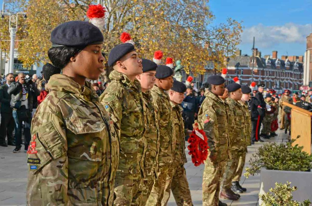 Army cadets prepare to lay wreaths