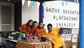 Grove Adventure Playground children at a stall