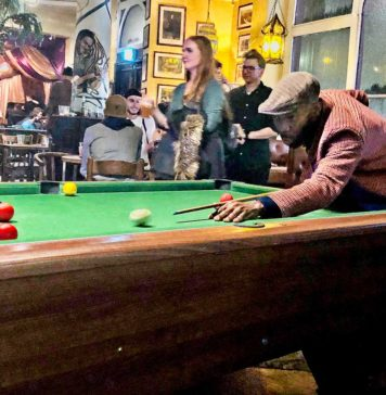 Pool player at the Hootananny