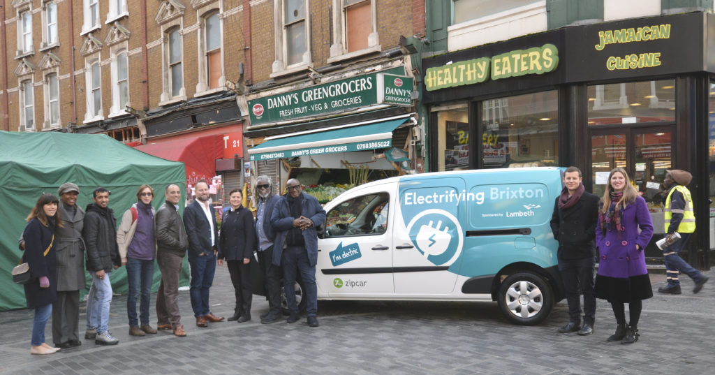 (l-r) Julia Nicholls, Squire & Partners; Laverne Walker, Sackville Travel and BID co-chair; Cllr Irfan Mohammed, council business champion; Hammant Villa-Patel, Courtesan; James Taylor, Zipcar, Cllr Claire Holland; Michael Smith, Brixton BID; Stafford Geohagen, Healthy Eaters; Matt Browning, Lambeth council's sustainability officer; and Kate Fenton, Cross River Partnership project manager