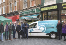 (l-r) Julia Nicholls, Squire & Partners; Laverne Walker, Sackville Travel and BID co-chair; Cllr Irfan Mohammed, council business champion; Hammant Villa-Patel, Courtesan; James Taylor, Zipcar, Cllr Claire Holland; Michael Smith, Brixton BID; Stafford Geohagen, Healthy Eaters; Tom Linton Smith and Kate Fenton, Cross River Partnership
