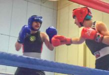 Vivien Parsons (left) in the ring with Rebecca Hennessy of the Togher boxing club in Cork, Ireland