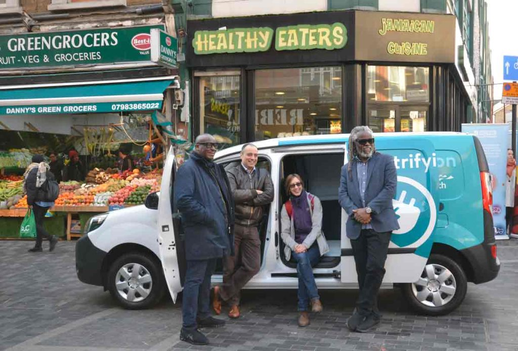 (l-r) Stafford Geohagan, Healthy Eaters; Hammant Patel-Villa, Courtesan; Orsetta Hosquet, Urban Growth; and Michale Smith, Brixton BID