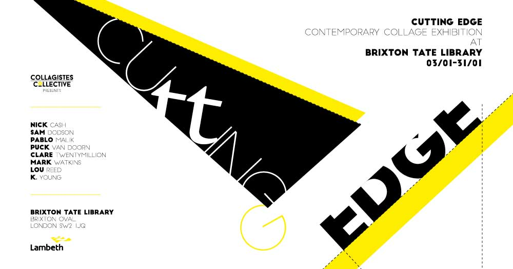 "Flyer for Collage exhibition at Brixton Library ""Cutting Edge"""