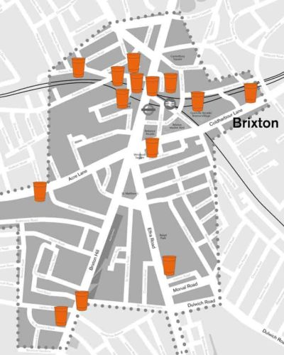 Brixton coffee cup recycling bins map