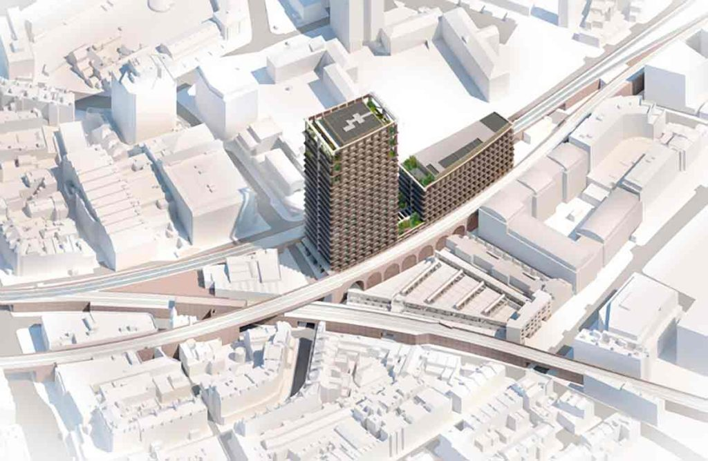 Computer generated image showing the development in the context of central Brixton