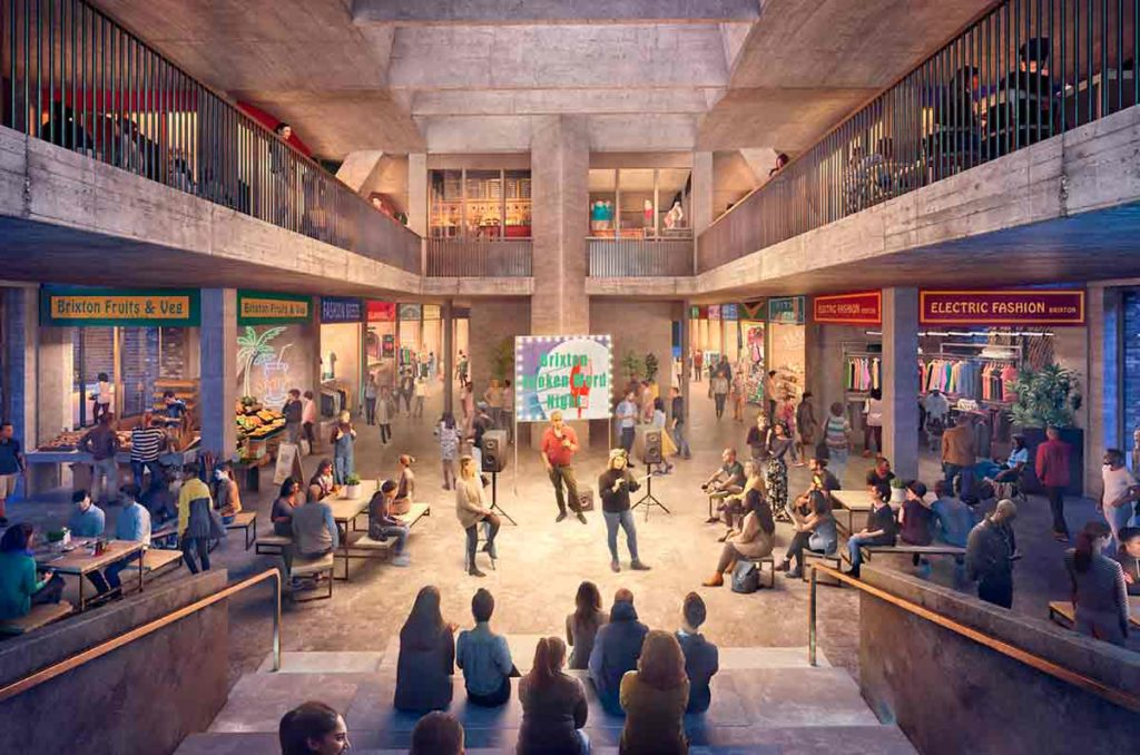 Computer generated image of the proposed 'market space' in the new building
