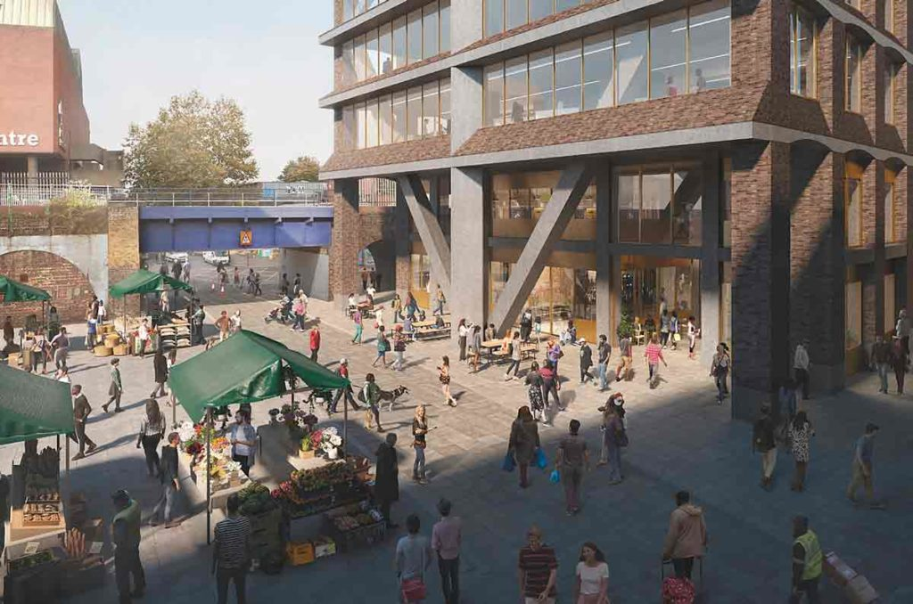 Computer generated image of the public square between the new tower and Brixton overground station
