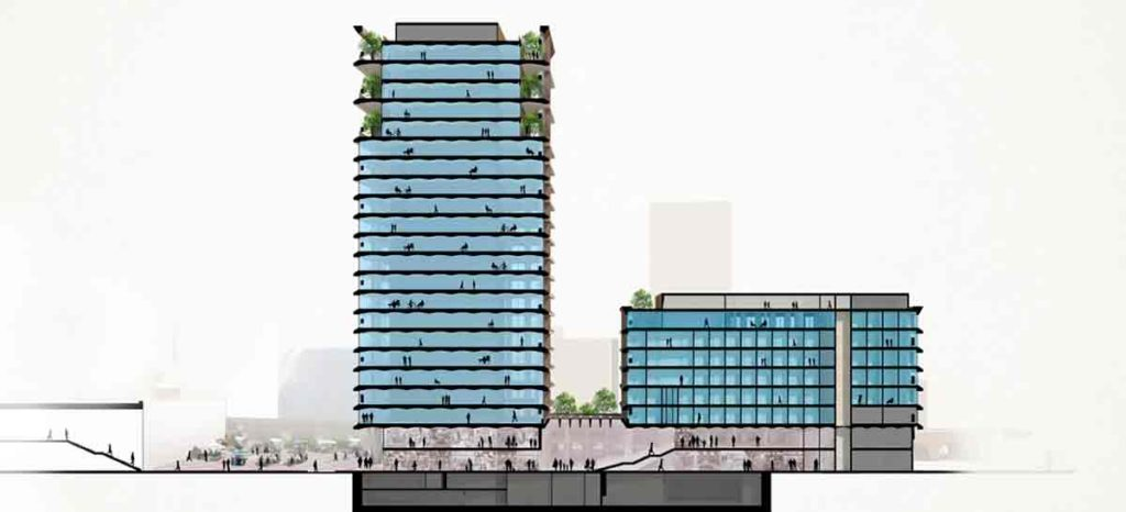 Computer generated image showing two planned buildings