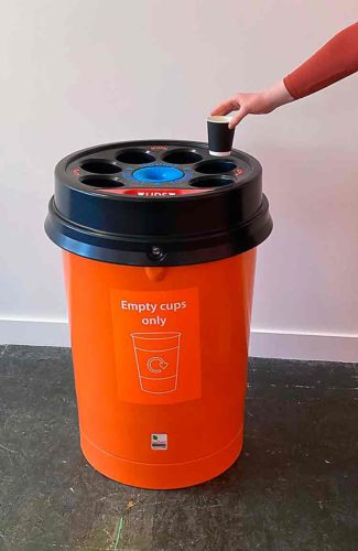 coffee cup recycling bin