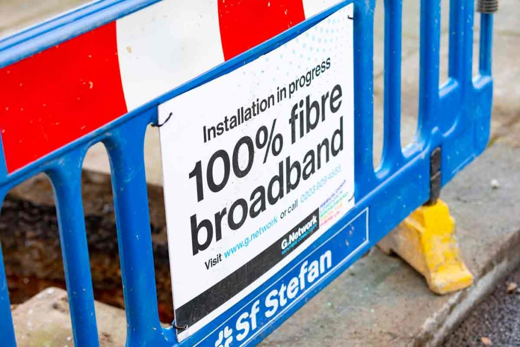fibre installation roadworks sign