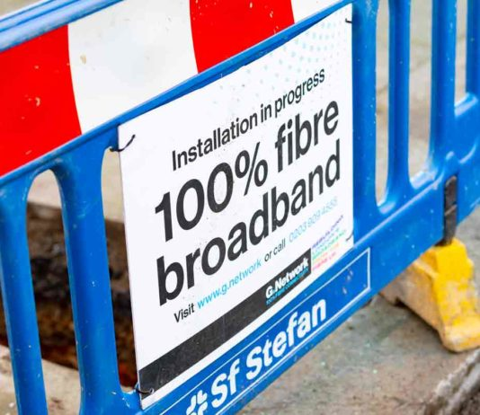 fibre installation roadworks sign