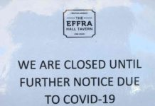 Closed sign outside Effra Hall Tavern