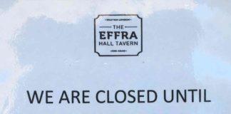 Closed sign outside Effra Hall Tavern